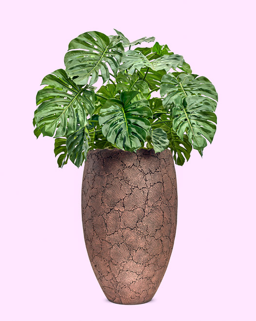 Agrilla natural stonecast vase met artificial philodendron monstera